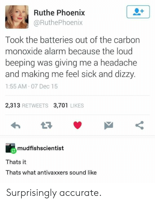 Tumblr, Alarm, and Phoenix: Ruthe Phoenix  @RuthePhoenix  Took the batteries out of the carbon  monoxide alarm because the loud  beeping was giving me a headache  and making me feel sick and dizzy  1:55 AM 07 Dec 15  2,313 RETWEETS 3,701 LIKES  mudfishscientist  Thats it  Thats what antivaxxers sound like Surprisingly accurate.
