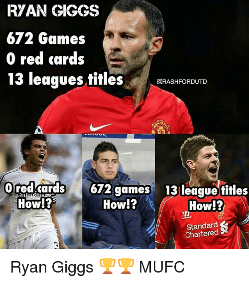 Giggs: RVAN GIGGS  672 Games  0 red cards  13 leaques titlesBFASHFORDUTD  回RASHFORDUTD  redd62 gm  How!?  13 league fitles  How!?  19  How!?  Standard  Chartered Ryan Giggs 🏆🏆 MUFC