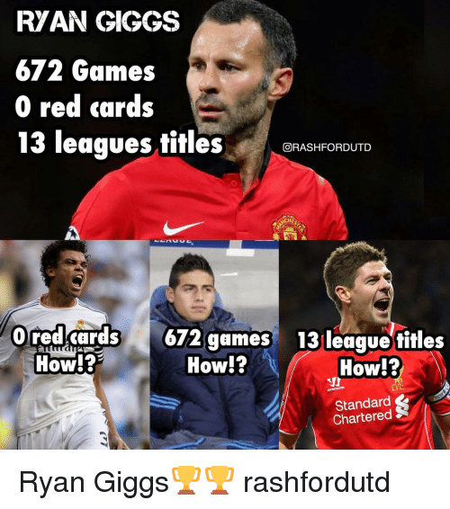 ryan giggs: RYAN GIGGS  672 Games  0 red cards  13 leagues titles  GORASHFORDUTD  0 red cards  672 games 13 league titles  How?  How!?  How!?  LEC,  Standard Ryan Giggs🏆🏆 rashfordutd