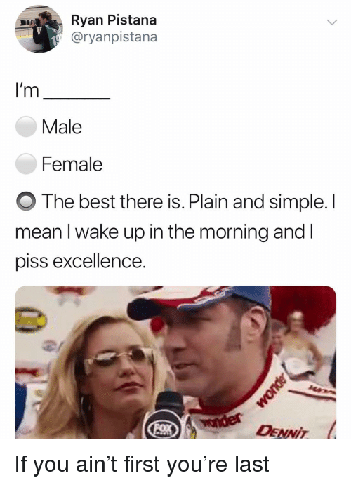 plain-and-simple: Ryan Pistana  @ryanpistana  I'm  Male  Female  O The best there is. Plain and simple. l  mean I wake up in the morning and l  piss excellence.  2/  DENNIT If you ain't first you're last