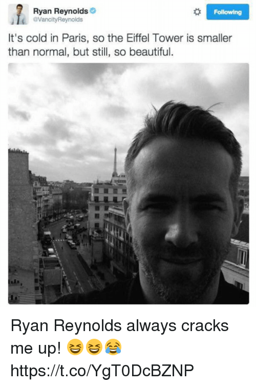 Eiffel Towering: Ryan Reynolds  VancityReynolds  Following  It's cold in Paris, so the Eiffel Tower is smaller  than normal, but still, so beautiful. Ryan Reynolds always cracks me up! 😆😆😂 https://t.co/YgT0DcBZNP