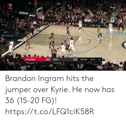 Nets: S 19  12  BEYOND MEAT  OATA  AIRW  GEICO  DA  EON DA  11  14  ARC  ENT  BARCLAYS  BANCLAYS  Brpc  10  55  3  39  121  115  PELICANS  NETS  4th Qtr  5:19  12  Timeouts: 4  Timeouts: 3 Brandon Ingram hits the jumper over Kyrie. He now has 36 (15-20 FG)!  https://t.co/LFQ1ciK58R