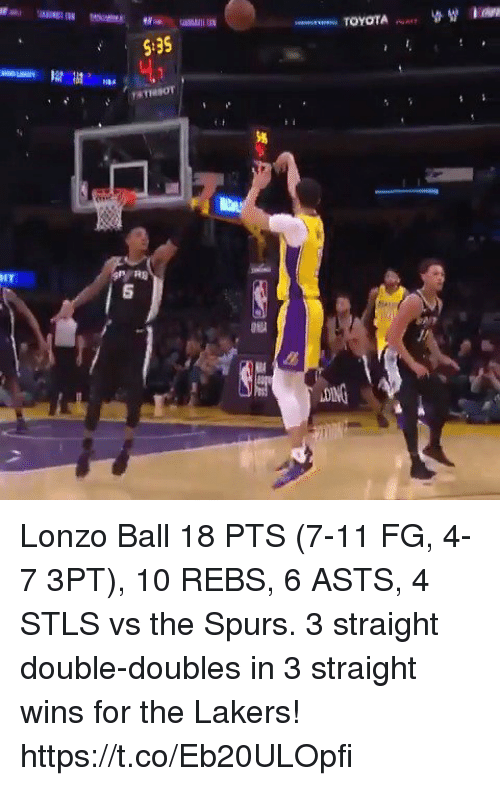 7/11, Los Angeles Lakers, and Memes: S:35  NBA  IT  5 Lonzo Ball 18 PTS (7-11 FG, 4-7 3PT), 10 REBS, 6 ASTS, 4 STLS vs the Spurs.  3 straight double-doubles in 3 straight wins for the Lakers!  https://t.co/Eb20ULOpfi