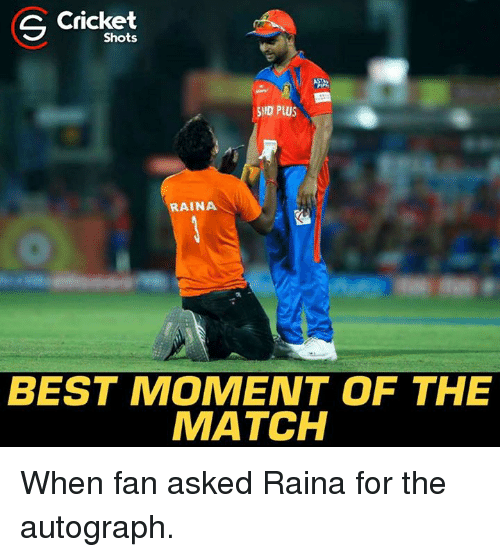 Memes, Best, and Cricket: S Cricket  Shots  HID PLUS  RAINA  BEST MOMENT OF THE  MATCH When fan asked Raina for the autograph.