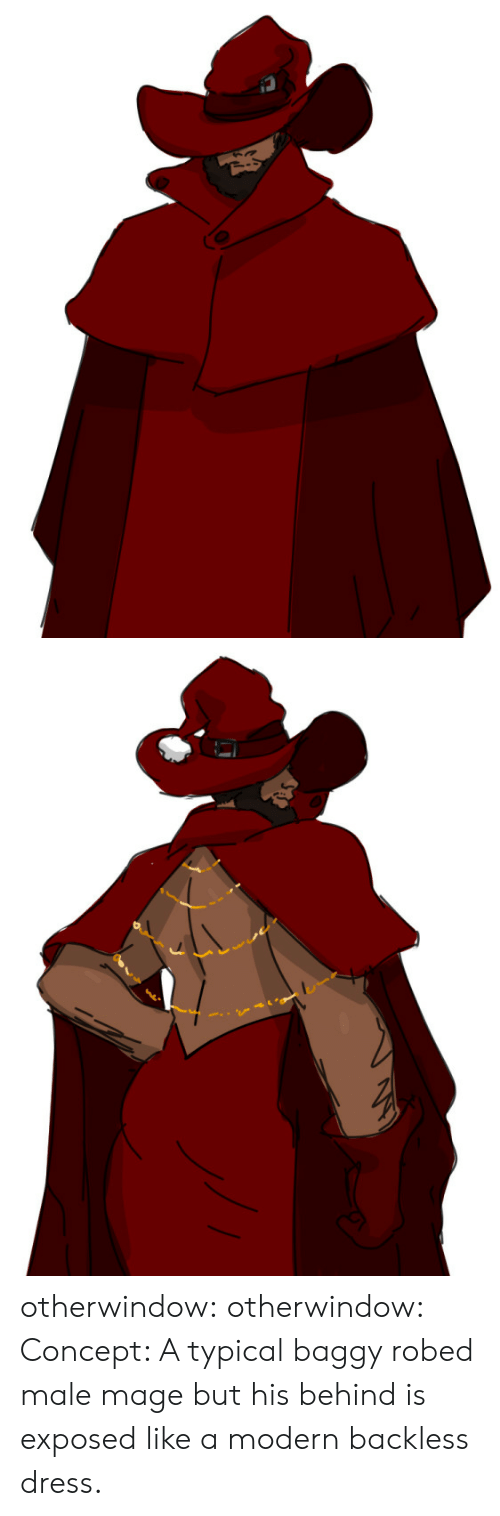 typical: S otherwindow:  otherwindow:  Concept: A typical baggy robed male mage but his behind is exposed like a modern backless dress.