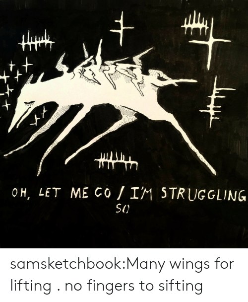 Tumblr, Blog, and Wings: +  s004000  OH, LET ME Co I1 5TRUGGLING  SI) samsketchbook:Many wings for lifting . no fingers to sifting