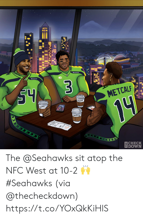 Metcalf: S4  $3  (C  METCALF  Russel  Bobby  14  Deckay  ΣΣ  37.30  ΕΚΕ  |CHECK  DOWN The @Seahawks sit atop the NFC West at 10-2 🙌 #Seahawks  (via @thecheckdown) https://t.co/YOxQkKiHlS
