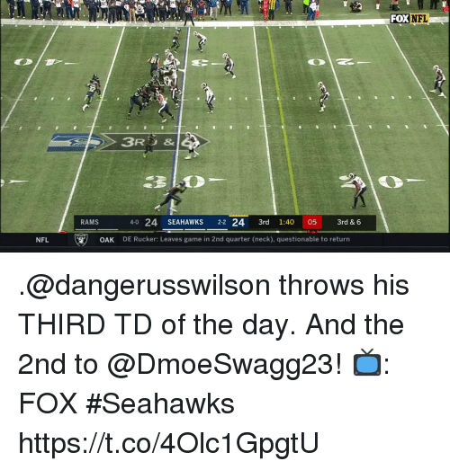 Memes, Nfl, and Game: S4  FOX NFL  1  3R3&  RAMS  4-0 24 SEAHAWKS 2-2 24 3rd 1:40 05 3rd & 6  NFL  OAK  DE Rucker: Leaves game in 2nd quarter (neck), questionable to return .@dangerusswilson throws his THIRD TD of the day.  And the 2nd to @DmoeSwagg23!  📺: FOX #Seahawks https://t.co/4Olc1GpgtU