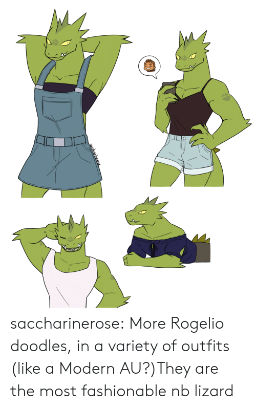 Tumblr, Blog, and Com: saccharinerose:  More Rogelio doodles, in a variety of outfits (like a Modern AU?)They are the most fashionable nb lizard