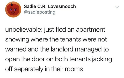 Jacking Off, Open, and Door: Sadie C.R. Lovesmooch  @sadieposting  unbelievable: just fled an apartment  showing where the tenants were not  warned and the landlord managed to  open the door on both tenants jacking  off separately in their rooms