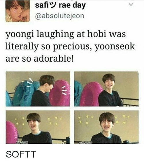 absolution: safi rae day  @absolut ejeon  yoongi laughing at hobi was  literally so precious, yoonseok  are so adorable! SOFTT