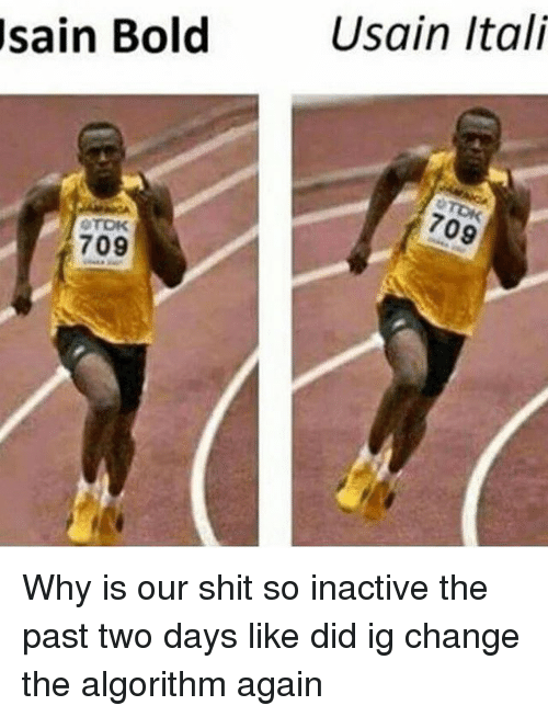 Dank Memes, Algorithm, and Past: sain Bold  OTOK  709  Usain Itali Why is our shit so inactive the past two days like did ig change the algorithm again