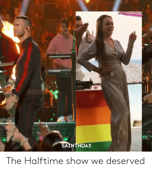 Funny, Show, and Halftime: SAINTHOAX The Halftime show we deserved