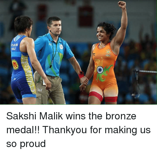 sakshi: Sakshi Malik wins the bronze medal!! Thankyou for making us so proud