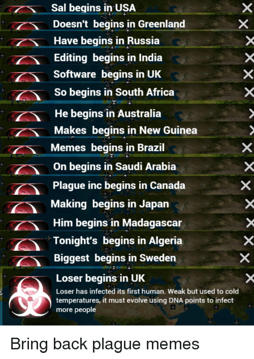 Saudi Arabia: Sal begins in USA  Doesn't begins in Greenland  Have begins in Russia  Editing begins in India  Software begins in UK  So begins in South Africa  He begins in Australia  Makes begins in New Guinea  Memes begins in Brazil  On begins in Saudi Arabia  Plague inc begins in Canada  Making begins in Japan  Him begins in Madagascar  Tonight's begins in Algeria  Biggest begins in Sweden  Loser begins in UK  Loser has infected its first human. Weak but used to cold  temperatures, it must evolve using DNA points to infect  more people Bring back plague memes