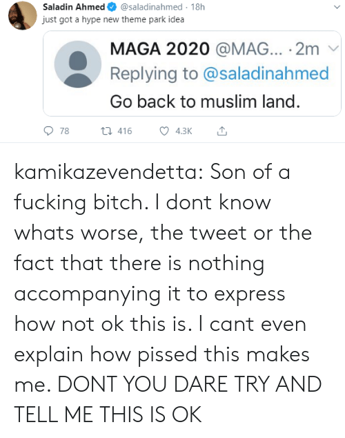 i cant even: Saladin Ahmed  @saladinahmed 18h  just got a hype new theme park idea  MAGA 2020 @MAG... 2m  Replying to @saladinahmed  Go back to muslim land.  78  t416  4.3K kamikazevendetta:  Son of a fucking bitch. I dont know whats worse, the tweet or the fact that there is nothing accompanying it to express how not ok this is. I cant even explain how pissed this makes me. DONT YOU DARE TRY AND TELL ME THIS IS OK