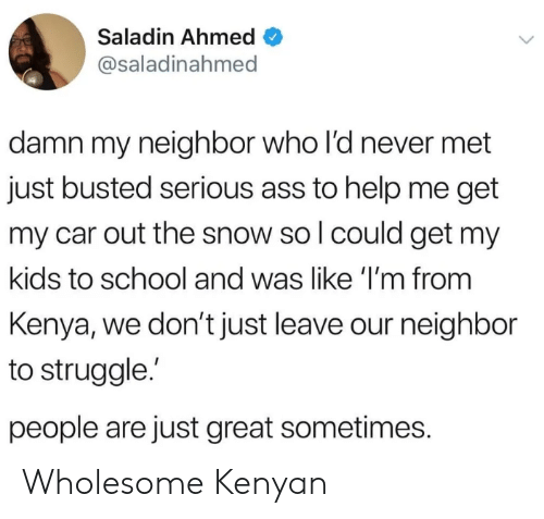 Ahmed: Saladin Ahmed  @saladinahmed  damn my neighbor who l'd never met  just busted serious ass to help me get  my car out the snow so l could get my  kids to school and was like 'I'm from  Kenya, we don't just leave our neighbor  to struggle.  people are just great sometimes. Wholesome Kenyan