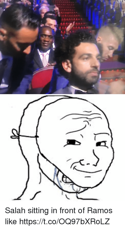 Memes, 🤖, and Salah: Salah sitting in front of Ramos like https://t.co/OQ97bXRoLZ