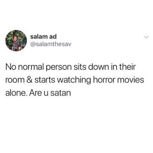 Being Alone, Memes, and Movies: salam ad  @salamthesav  No normal person sits down in their  room & starts watching horror movies  alone. Are u satan