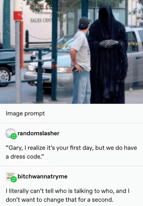 "I Literally: SALES CEN  Magooal  Image prompt  randomslasher  ""Gary, I realize it's your first day, but we do have  a dress code.""  ENAY NOT BE  bitchwannatryme  РЕRFECT  NOT  I literally can't tell who is talking to who, and I  don't want to change that for a second."
