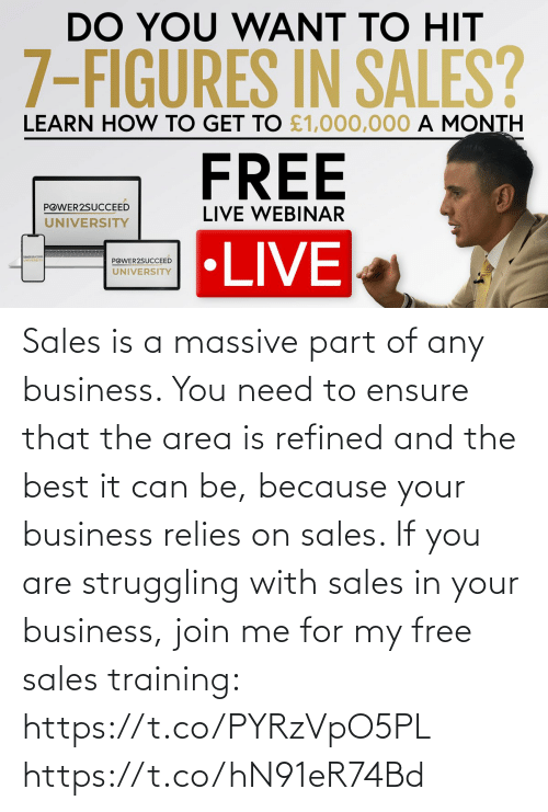 sales: Sales is a massive part of any business. You need to ensure that the area is refined and the best it can be, because your business relies on sales.   If you are struggling with sales in your business, join me for my free sales training: https://t.co/PYRzVpO5PL https://t.co/hN91eR74Bd