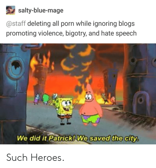 We Did It Patrick We Saved The City: salty-blue-mage  @staff deleting all porn while ignoring blogs  promoting violence, bigotry, and hate speech  We did it Patrick!We saved the city Such Heroes.