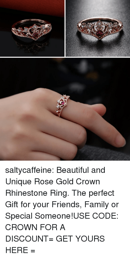 Beautiful, Family, and Friends: saltycaffeine:  Beautiful and Unique Rose Gold Crown Rhinestone Ring. The perfect Gift for your Friends, Family or Special Someone!USE CODE: CROWN FOR A DISCOUNT= GET YOURS HERE =