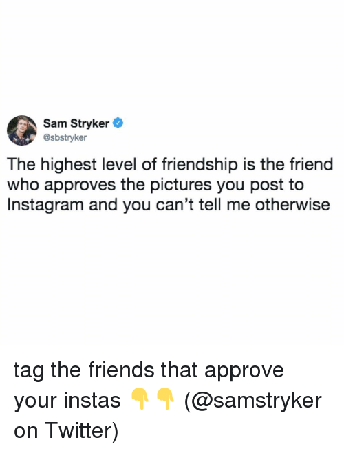 stryker: Sam Stryker  @sbstryker  The highest level of friendship is the friend  who approves the pictures you post to  Instagram and you can't tell me otherwise tag the friends that approve your instas 👇👇 (@samstryker on Twitter)