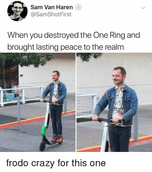frodo: Sam Van Haren  @SamShotFirst  When you destroyed the One Ring and  brought lasting peace to the realm frodo crazy for this one