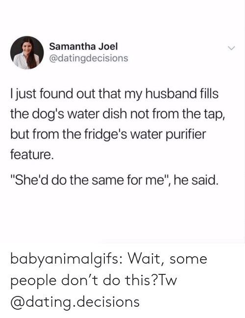 "Dont Do This: Samantha Joel  @datingdecisions  I just found out that my husband fills  the dog's water dish not from the tap,  but from the fridge's water purifier  feature.  She'd do the same for me"", he said. babyanimalgifs:  Wait, some people don't do this?Tw @dating.decisions"