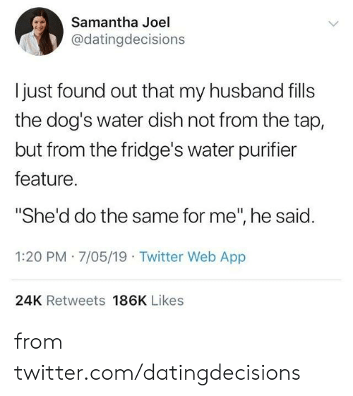 "joel: Samantha Joel  @datingdecisions  I just found out that my husband fills  the dog's water dish not from the tap,  but from the fridge's water purifier  feature.  ""She'd do the same for me"", he said.  1:20 PM 7/05/19 Twitter Web App  24K Retweets 186K Likes from twitter.com/datingdecisions"