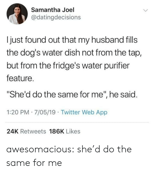 """samantha: Samantha Joel  @datingdecisions  Ijust found out that my husband fills  the dog's water dish not from the tap,  but from the fridge's water purifier  feature.  She'd do the same for me"""", he said.  1:20 PM 7/05/19 Twitter Web App  24K Retweets 186K Likes awesomacious:  she'd do the same for me"""