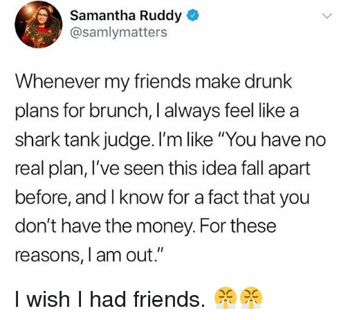"Wish I Had Friends: Samantha Ruddy  @samlymatters  Whenever my friends make drunk  plans for brunch, I always feel like a  shark tank judge. I'm like ""You have no  real plan, I've seen this idea fall apart  before, and I know for a fact that you  don't have the money. For these  reasons, I am out."" I wish I had friends. 😤😤"