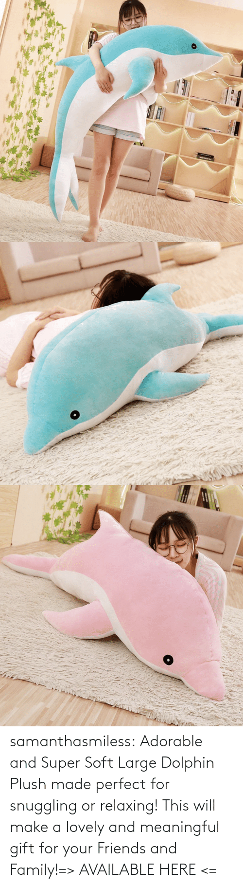relaxing: samanthasmiless:  Adorable and Super Soft Large Dolphin Plush made perfect for snuggling or relaxing! This will make a lovely and meaningful gift for your Friends and Family!=> AVAILABLE HERE <=
