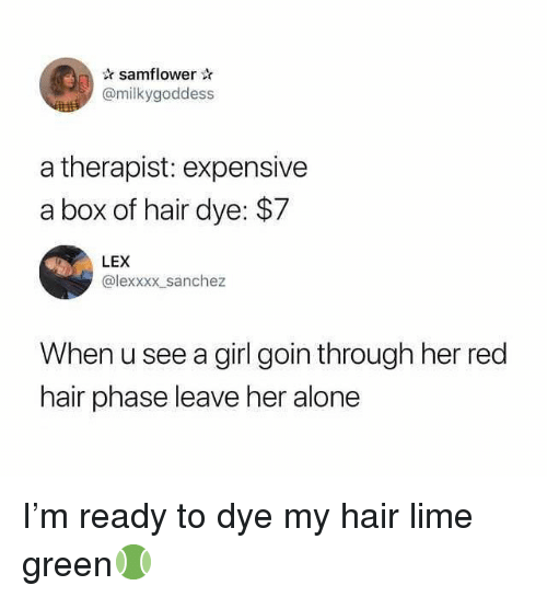 Leave Her Alone: samflower  @milkygoddess  a therapist: expensive  a box of hair dye: $7  LEX  @lexxxx sanchez  When u see a girl goin through her red  hair phase leave her alone I'm ready to dye my hair lime green🎾