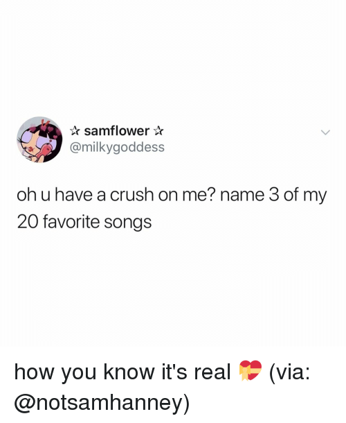 Oh U: samflower*  @milkygoddess  oh u have a crush on me? name 3 of my  20 favorite songs how you know it's real 💝 (via: @notsamhanney)