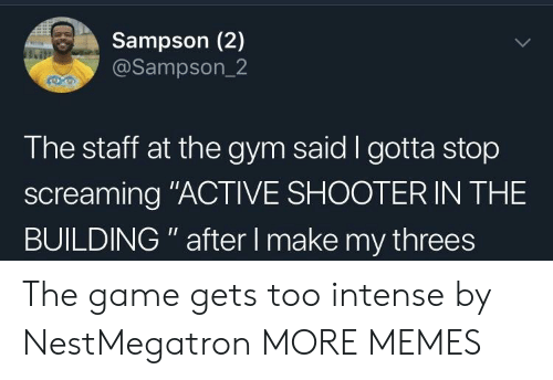"""Threes: Sampson (2)  @Sampson_2  The staff at the gym said I gotta stop  screaming """"ACTIVE SHOOTER IN THE  BUILDING """" after I make my threes The game gets too intense by NestMegatron MORE MEMES"""