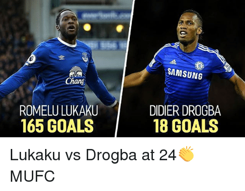Goals, Memes, and Samsung: SAMSUNG  Chang  ROMELU LUKAKU  165 GOALS  DIDIER DROGBA  18 GOALS Lukaku vs Drogba at 24👏 MUFC