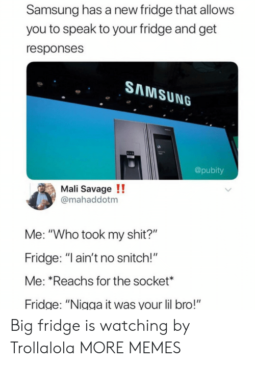 """mali: Samsung has a new fridge that allows  you to speak to your fridge and get  responses  SAMSUNG  @pubity  Mali Savage !!  mahaddotm  Me: """"Who took my shit?""""  Fridge: """" ain't no snitch!""""  Me: *Reachs for the socket*  ridge: """"Nigga it was your lil bro!"""" Big fridge is watching by Trollalola MORE MEMES"""