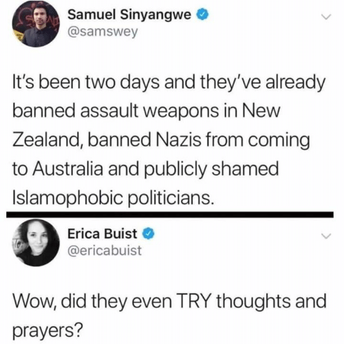 Dank, Wow, and Australia: Samuel Sinyangwe  @samswey  It's been two days and they've already  banned assault weapons in New  Zealand, banned Nazis from coming  to Australia and publicly shamed  Islamophobic politicians.  Erica Buist  @ericabuist  Wow, did they even TRY thoughts and  prayers?