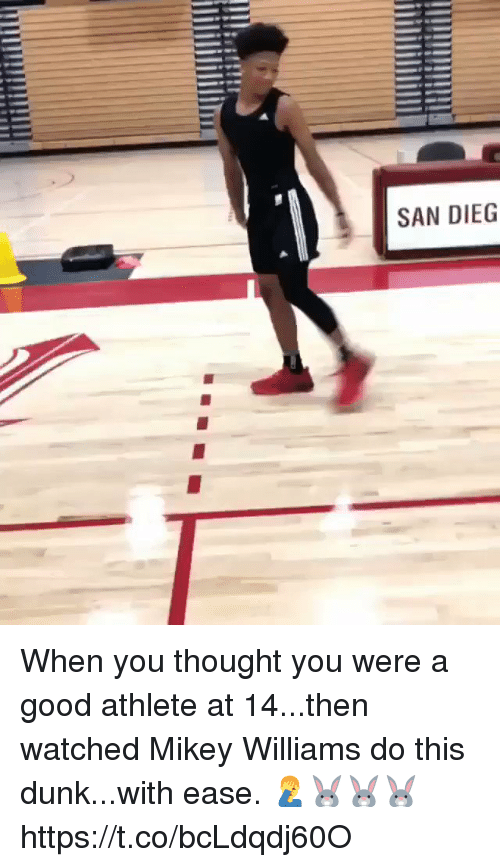 Dunk, Memes, and Good: SAN DIEG When you thought you were a good athlete at 14...then watched Mikey Williams do this dunk...with ease. 🤦‍♂️🐰🐰🐰 https://t.co/bcLdqdj60O