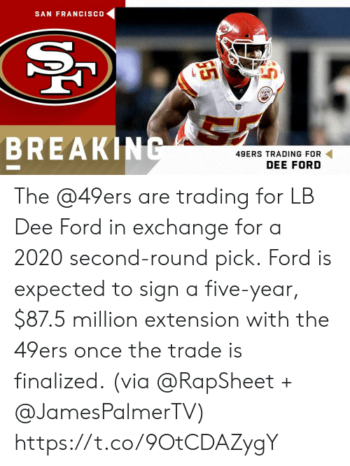 San Francisco 49ers, Memes, and Ford: SAN FRANCISCO  BREAKI  49ERS TRADING FOR  DEE FORD The @49ers are trading for LB Dee Ford in exchange for a 2020 second-round pick.  Ford is expected to sign a five-year, $87.5 million extension with the 49ers once the trade is finalized.  (via @RapSheet + @JamesPalmerTV) https://t.co/9OtCDAZygY