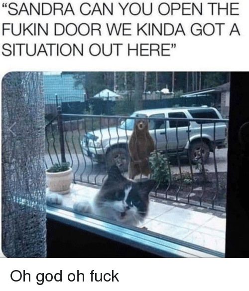 "God, Fuck, and Got: ""SANDRA CAN YOU OPEN THE  FUKIN DOOR WE KINDA GOT A  SITUATION OUT HERE'""  31 Oh god oh fuck"