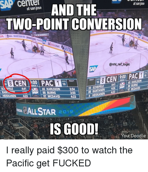 National Hockey League (NHL): SAP cente  AND THE  at sanjose  at san jose  TWO-POINT CONVERSION  @nhl ref logic  SAP  50G  9:00  :00  SOGİ PENALTY  PENALTY İSOG  ERIOD  65 KARLSSON  55 SCHEIFELE 4  88 RANTANEN 4268BURNS  4 HEISKANEN 4:237 MCDAVID  SCh FIFELE 4:41  AN  HEISKANEN 4:23  65 KARLSSON  88 BURNS  3:54  3:50  4:23  97 MCDAVID  LSTAR 1  S GOOD!  You Doodle I really paid $300 to watch the Pacific get FUCKED