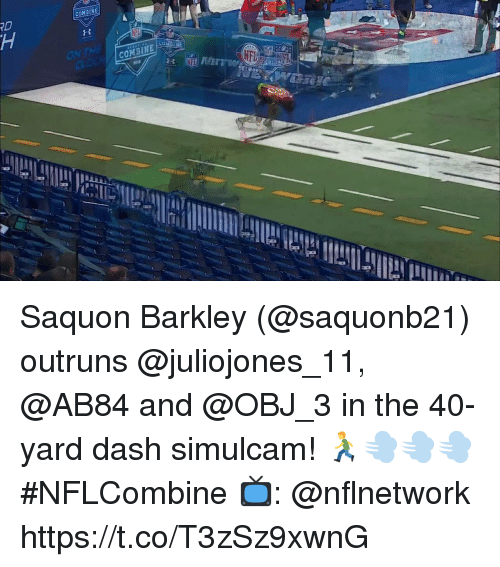 Memes, 🤖, and Dash: Saquon Barkley (@saquonb21) outruns @juliojones_11, @AB84 and @OBJ_3 in the 40-yard dash simulcam! 🏃💨💨💨  #NFLCombine  📺: @nflnetwork https://t.co/T3zSz9xwnG