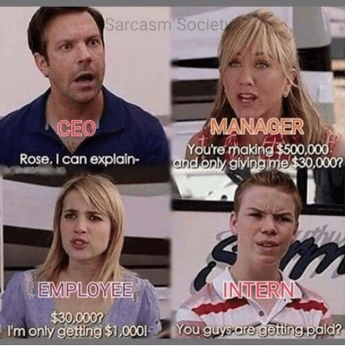 Rose, Sarcasm, and Mana: Sarcasm Societ  CEO  MANA  You're making  Rose, I can explain-andonly aiving  INTERN  I'm only gettng $1,000  You guysare getingtoald?
