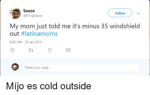 30 Jan: Sauce  @KingSauce  Follow  My mom just told me it's minus 35 windshield  out #latinamoms  8:02 AM- 30 Jan 2019  Tweet your reply Míjo es cold outside