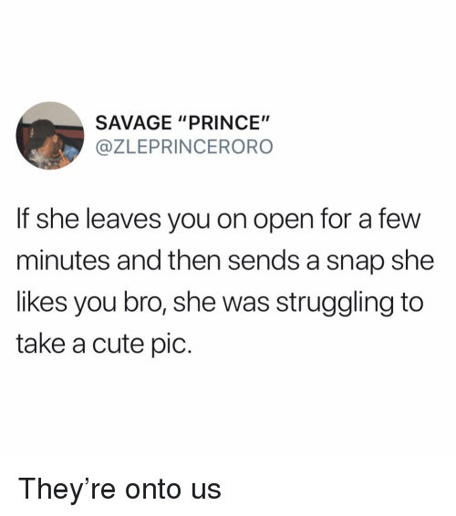 "Cute, Funny, and Prince: SAVAGE ""PRINCE""  @ZLEPRINCERORO  If she leaves you on open for a few  minutes and then sends a snap she  likes you bro, she was struggling to  take a cute pic. They're onto us"
