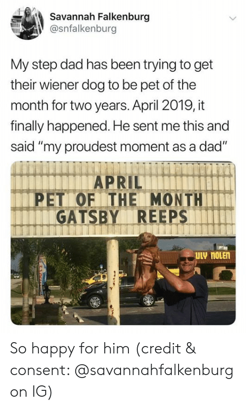 "Dad, Happy, and April: Savannah Falkenburg  @snfalkenburg  My step dad has been trying to get  their wiener dog to be pet of the  month for two years. April 2019, it  finally happened. He sent me this and  said ""my proudest moment as a dad""  PET OF THE MONTH  GATSBY REEPS  ULV noLEn So happy for him (credit & consent: @savannahfalkenburg on IG)"