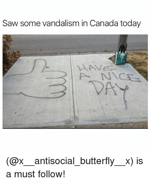 Canadã¡: Saw some vandalism in Canada today (@x__antisocial_butterfly__x) is a must follow!